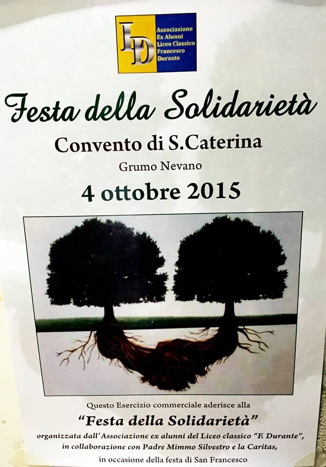 Grumo Nevano Domenica 4 Ottobre 2015 Convento S. Caterina  Festa della Solidarietà  Associazione ex Alunni Liceo Classico Francesco Durante
