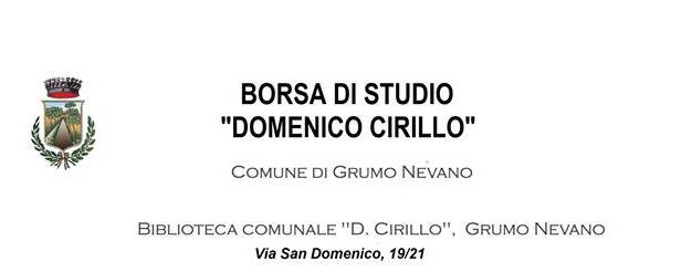 """Grumo Nevano Concorso """" Borsa di Studio Domenico Cirillo"""" Scadenza il…"""