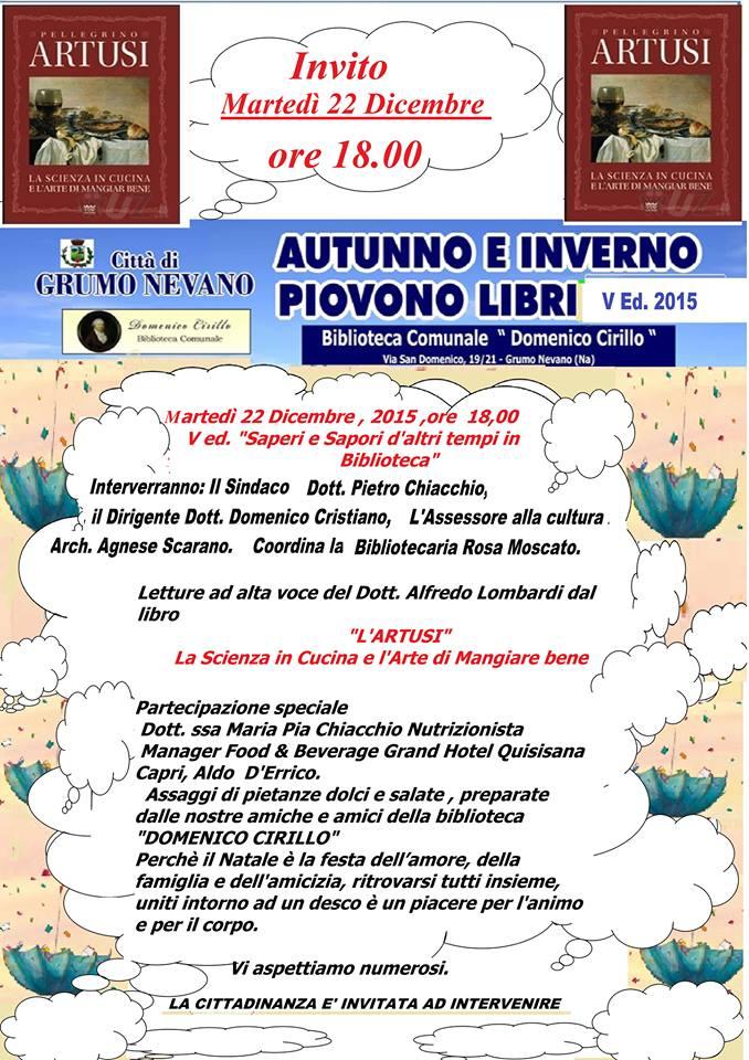 """Appuntamento Biblioteca Comunale, Martedi 22 dicembre ore 18.00 V ediz. """"Saperi e sapori d'altri tempi in biblioteca"""""""