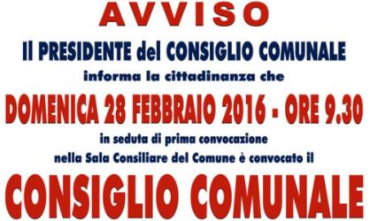 Convocazione Consiglio Comunale – DOMENICA 28 FEBBRAIO 2016 ORE  09.30.