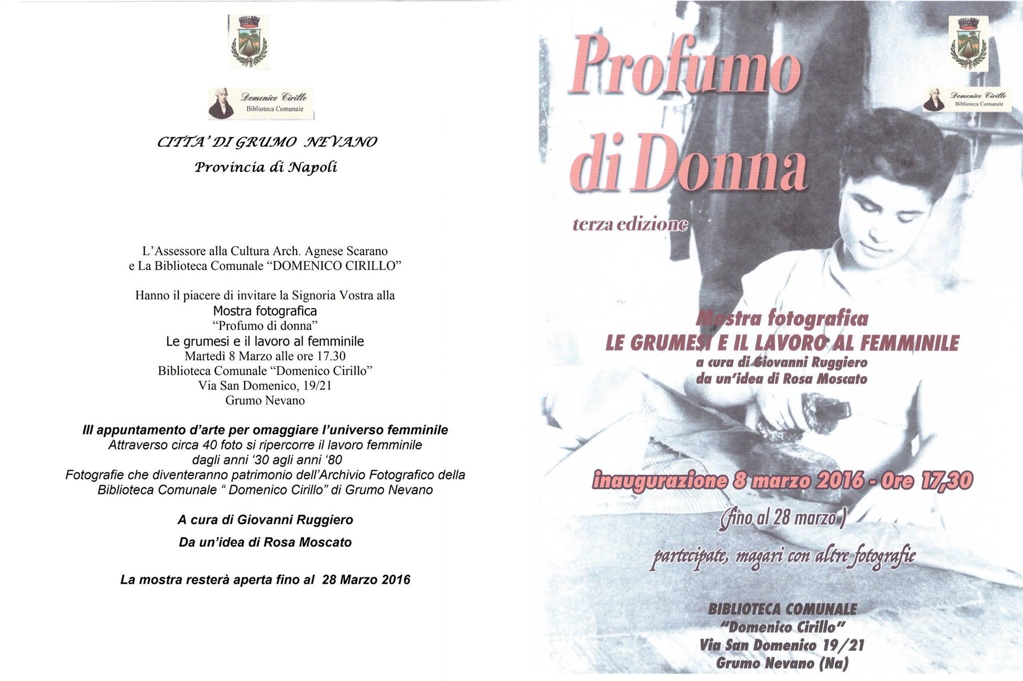 """Martedi 8 marzo alle ore 17.30 presentazione mostra di fotografie """" PROFUMO DI DONNA"""" Le grumesi e il lavoro al femminile."""