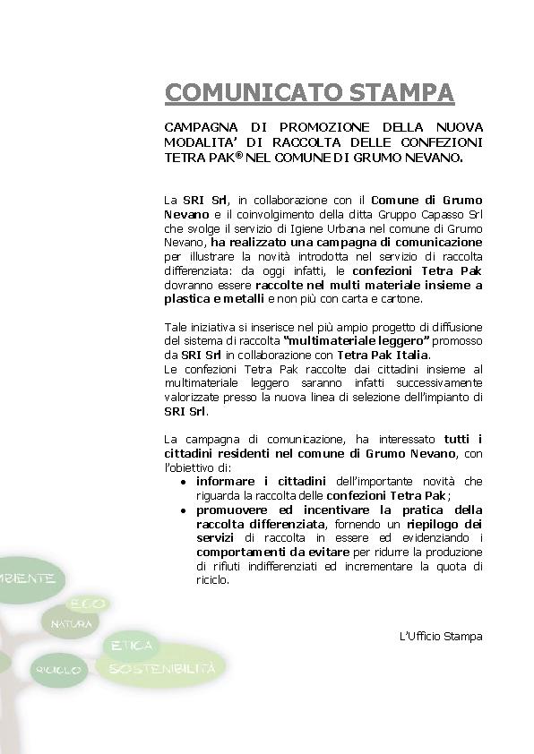 COMUNICATO STAMPA_GRUMO