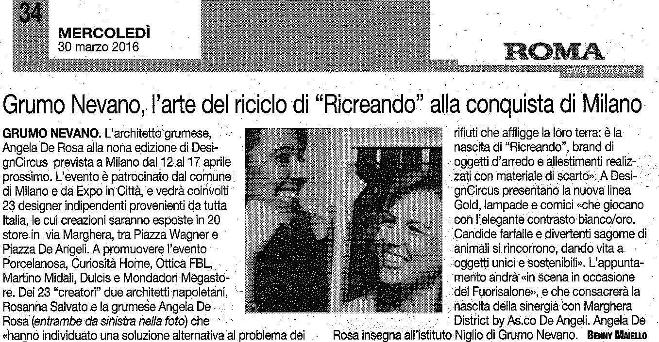 """L'Architetto grumese Angela De Rosa e l'arte del riciclo di """"Ricreando"""" alla conquista di Milano"""
