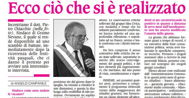 ECCO CIO' CHE SI E' REALIZZATO l'intervista del Sindaco su le Prospettive