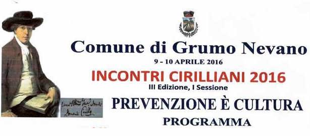 """09 – 10 Aprile 2016 Incontri Cirilliani III edizione """"Prevenzione è Cultura"""""""