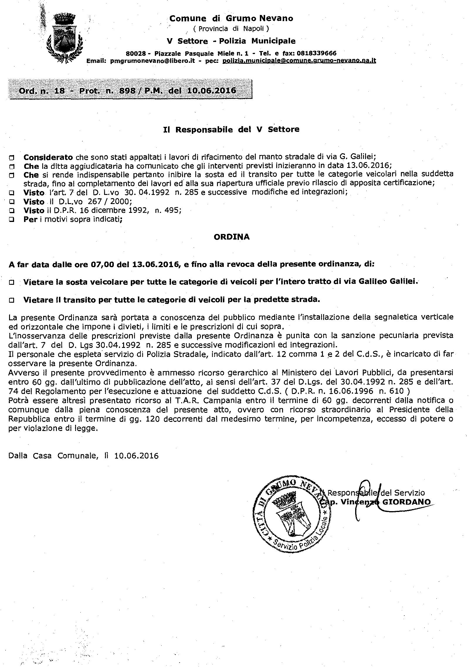 Ordinanza divieto di transito alla via Galilei