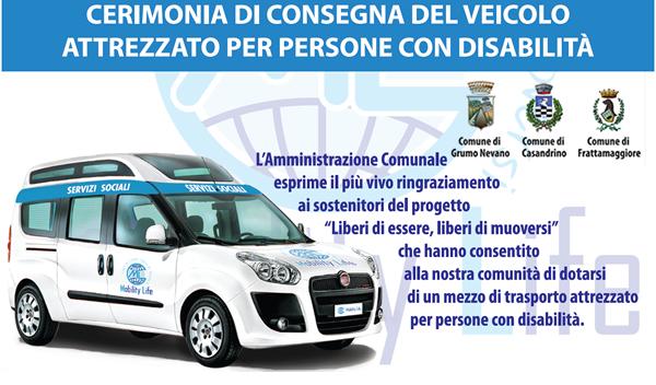 Il comune di Grumo Nevano si dota di un veicolo per il TRASPORTO DI ANZIANI NON AUTOSUFFICIENTI E PERSONE CON DISABILITA'