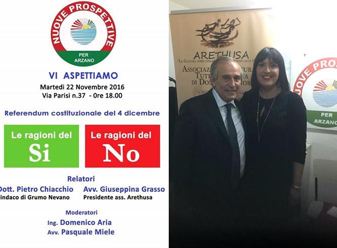 Convegno ad Arzano, Confronto dialettico tra le ragioni del SI con il sindaco di Grumo Nevano dott.Pietro CHIACCHIO e l'avvocato  Giuseppina GRASSO per il NO