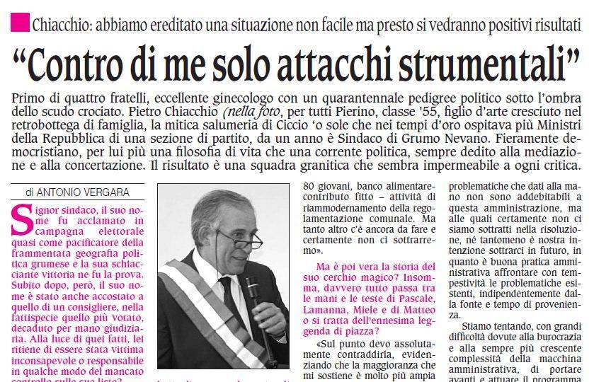 L'intervista del SINDACO Pietro CHIACCHIO sul nuovo numero delle Prospettive, leggi