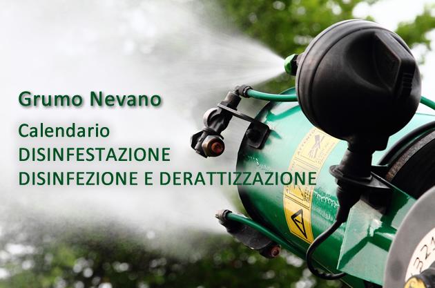 Grumo Nevano, Calendario DISINFESTAZIONE E DISINFEZIONE E DERATTIZZAZIONE SUL TERRITORIO COMUNALE.