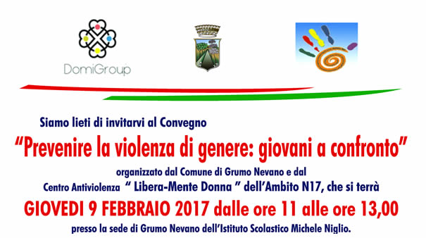 """Prevenire la violenza di genere: Giovani a confronto, organizzato dal Comune di Grumo Nevano e dal Centro Antiviolenza  Libera-Mente Donna """" dell'Ambito NI7"""