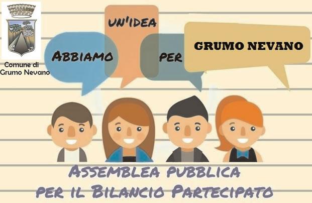 Grumo Nevano, BILANCIO PARTECIPATIVO INCONTRO PUBBLICO, giovedi 23 FEBBRAIO ore 18.30 aula consiliare del Comune.