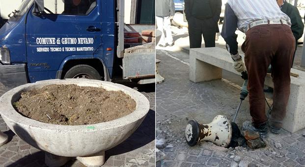 Grumo Nevano, rimozione in piazza DOMENICO CIRILLO delle Fioriere e di ogni altro impedimento, per il ripristino delle condizioni minime di sicurezza stradale.