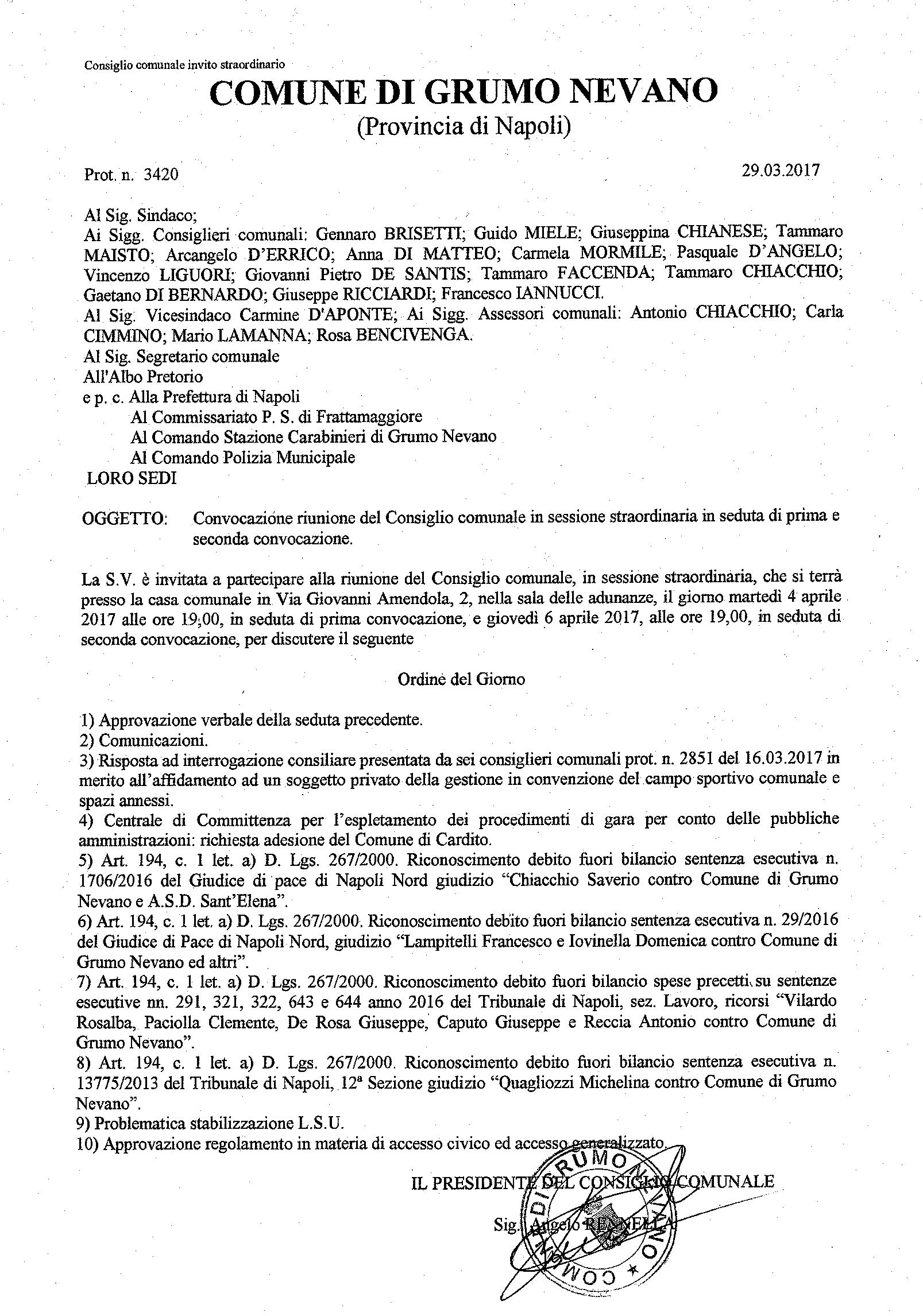 Convocazione consiglio 04.04.2017