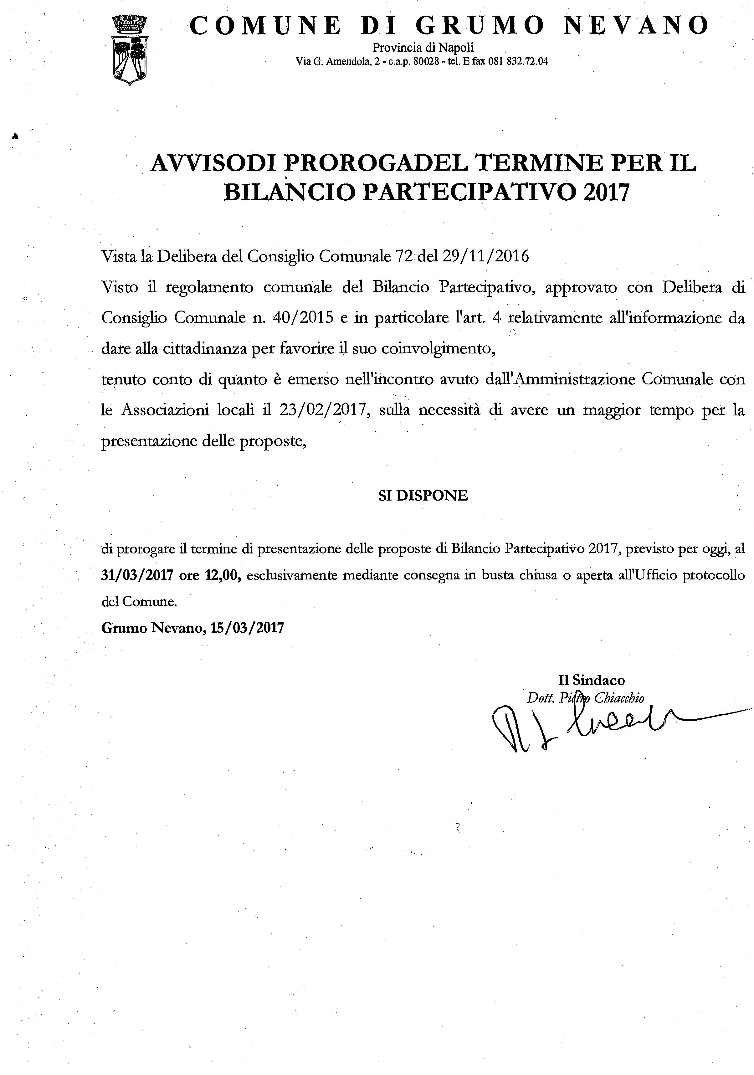 Proroga Bilancio Partecipativo anno 2017