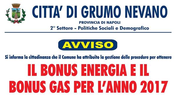 Grumo Nevano, Centri di Assistenza Fiscale per richieste BONUS GAS E BONUS ENERGIA