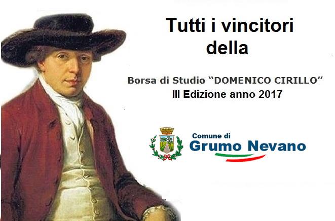 """Grumo Nevano, VINCITORI DELLA BORSA DI STUDIO """"DOMENICO CIRILLO"""" III Edizione 2017"""
