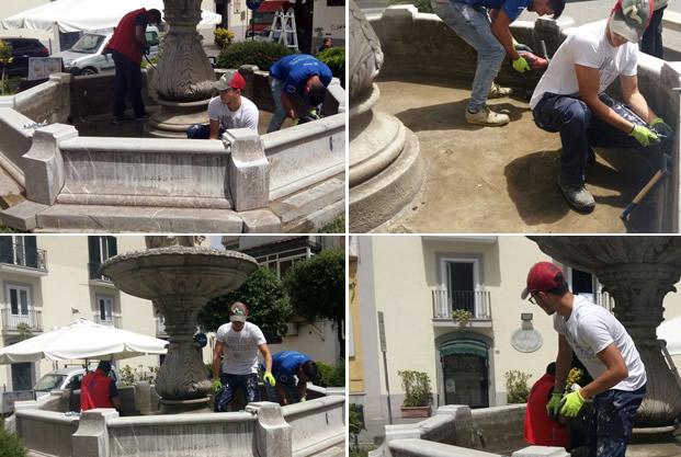 Grumo Nevano, appena iniziati i lavori di restauro della FONTANA MONUMENTALE sita in piazza PIO XII.