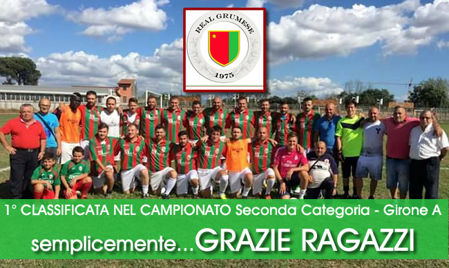 REAL GRUMESE, 1° CLASSIFICATA NEL CAMPIONATO Seconda Categoria – Girone A , gli auguri del SINDACO