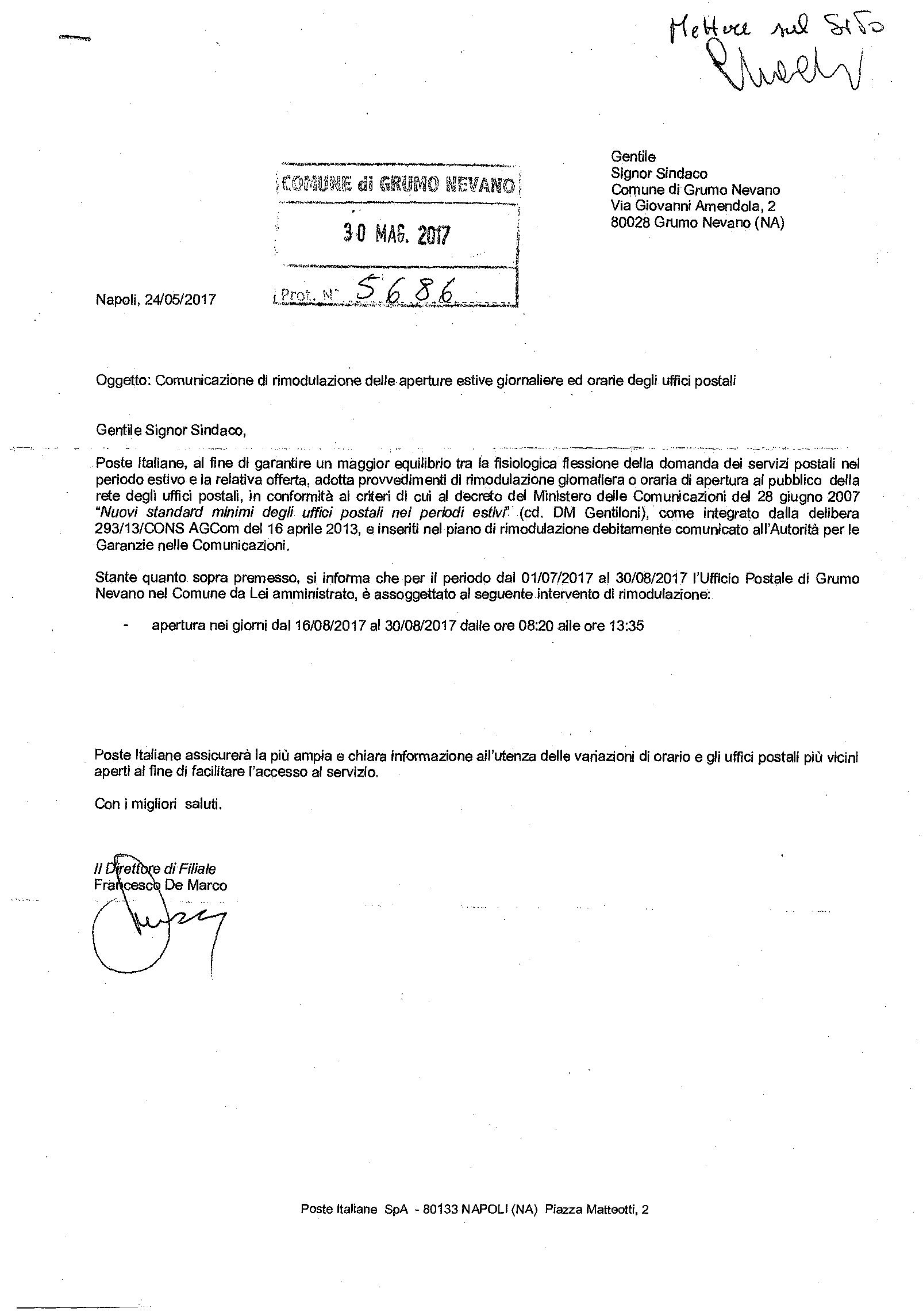 Comunicazione di rimodulazione delle aperture esti