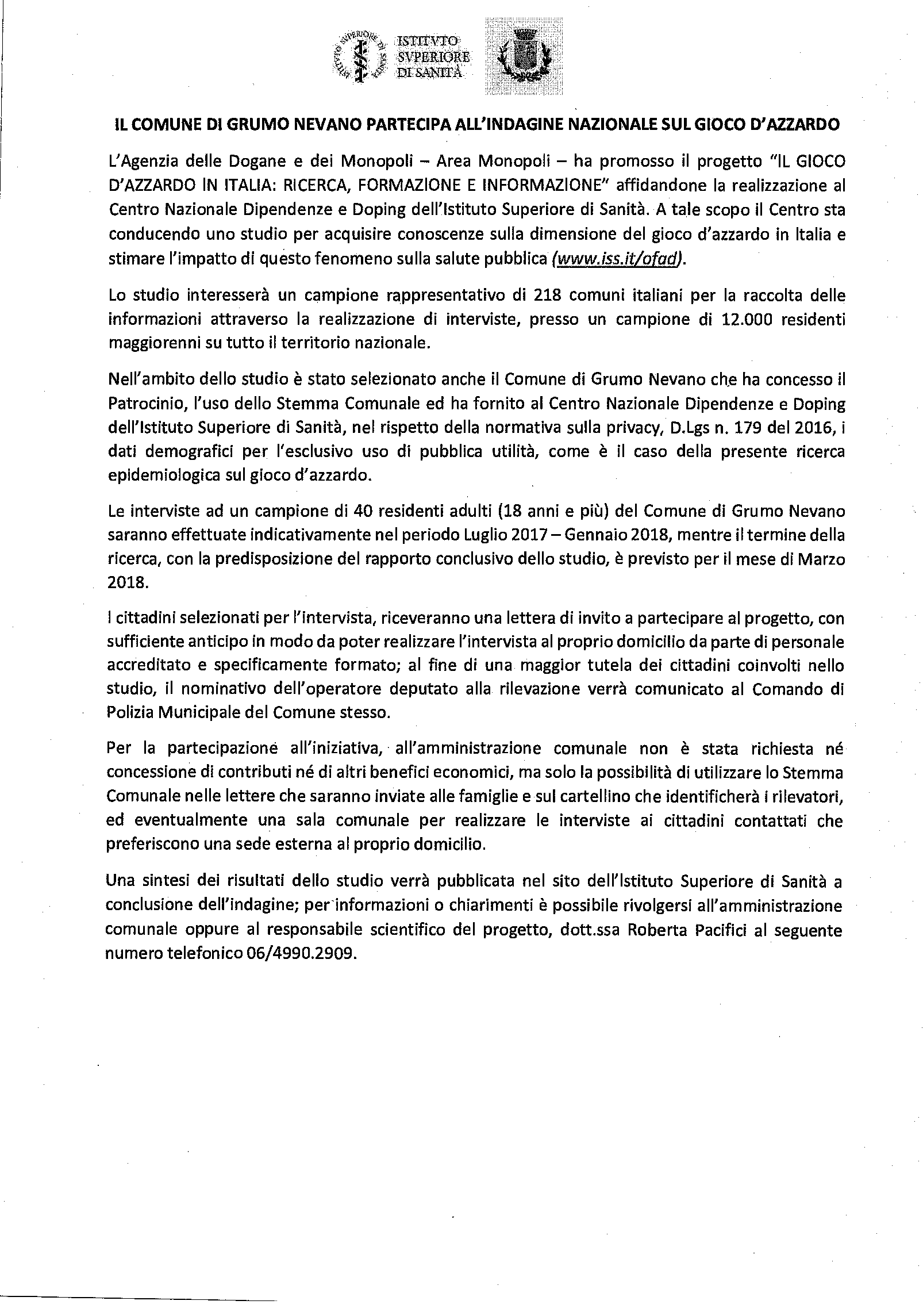 INDAGINE NAZIONALE SUL GIOCO D'AZZARDO