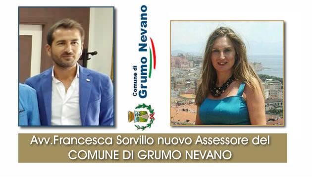 Grumo Nevano, il Sindaco f.f., nomina l'avvocato FRANCESCA SORVILLO NUOVO ASSESSORE, ecco le deleghe conferite.