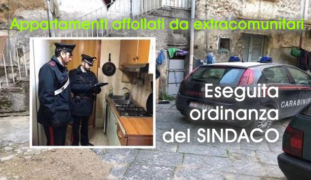 Grumo Nevano, Questa Mattina controllo dei CARABINIERI negli Appartamenti occupati da extracomunitari, eseguita ORDINANZA del SINDACO f.f.