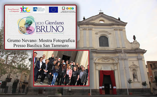"""Grumo Nevano, i ragazzi della IV A Liceo Artistico """"G. Bruno"""" di Grumo Nevano, inaugurano la mostra fotografica realizzata sulla Basilica di San Tammaro"""