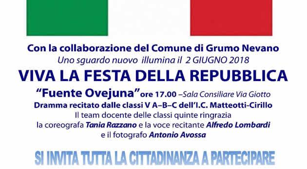 """Grumo Nevano, 2 GIUGNO FESTA DELLA REPUBBLICA, """"Fuente Ovejuna"""" ore 17.00 -Sala Consiliare Via Giotto"""
