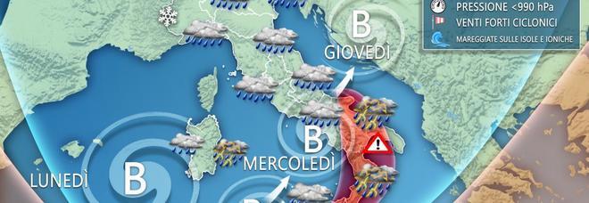Ciclone mediterraneo in arrivo, attenti alla severa ondata di maltempo. Ecco le zone più a rischio