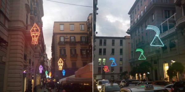 San Gennaro, Vesuvio e Pulcinella, a Chiaia è già Natale: accese le luminarie